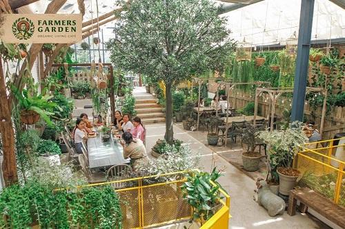 Farmer's Garden chọn kiểu bàn ghế có mà xám tro dịu nhẹ để tạo cảm giác hài hòa, nhẹ nhàng, thư giãn